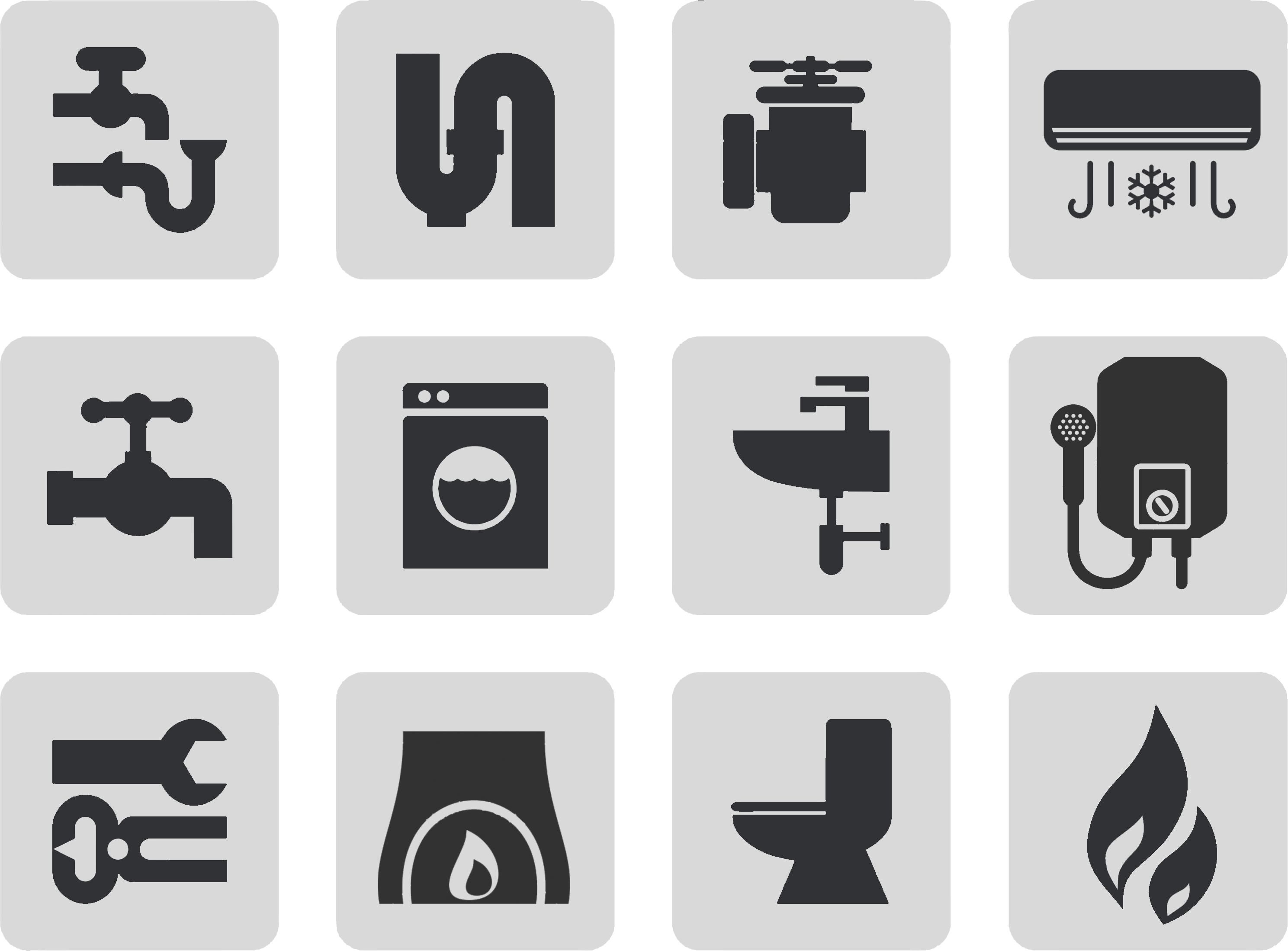 A grid of icons representing residential plumbing services